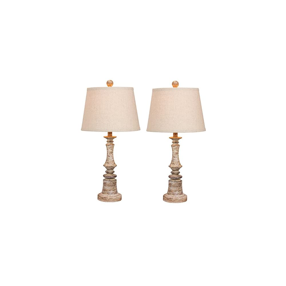 Cory Martin W-6240CABG-2PK Fangio Lighting's #6240CABG-2PK Pair of 26.5 in. Distressed Candlestick Resin Table Lamps in…