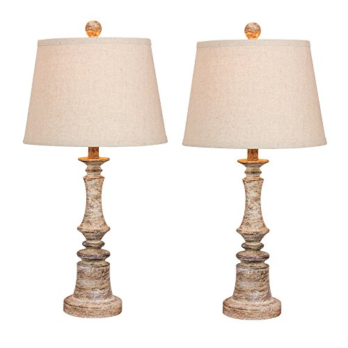 (Cory Martin W-6240CABG-2PK Fangio Lighting's #6240CABG-2PK Pair of 26.5 in. Distressed Candlestick Resin Table Lamps in a Cottage Antique Beige Finish, 2 Piece)