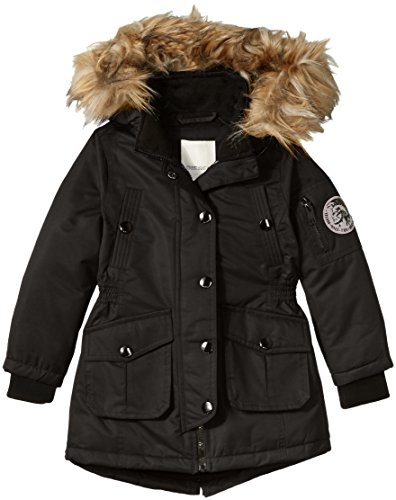Fur Trimmed Toggle - Diesel Big Girls' Outerwear Jacket (More Styles Available), Black A A, 7/8
