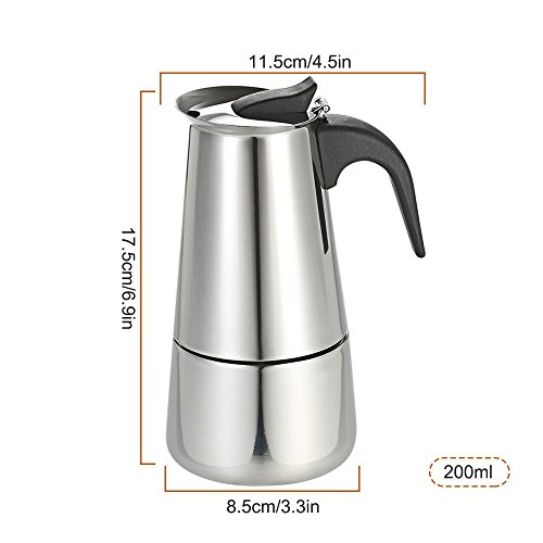 Decdeal Stainless Steel Espresso Percolator Coffee Stovetop Maker Mocha Pot for Use on Gas or Electric Stove by Decdeal (Image #3)'