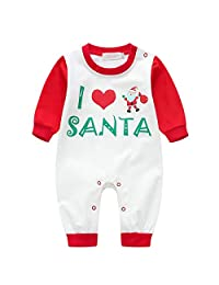 Qlan Christmas Family Matching Pyjama Set, Dad Mom Kids Baby I Love Santa Sleepsuit