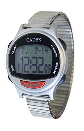 e-pill Cadex Medication 12 Alarm Reminder Watch with Medical ID Stainless Steel Expansion Band