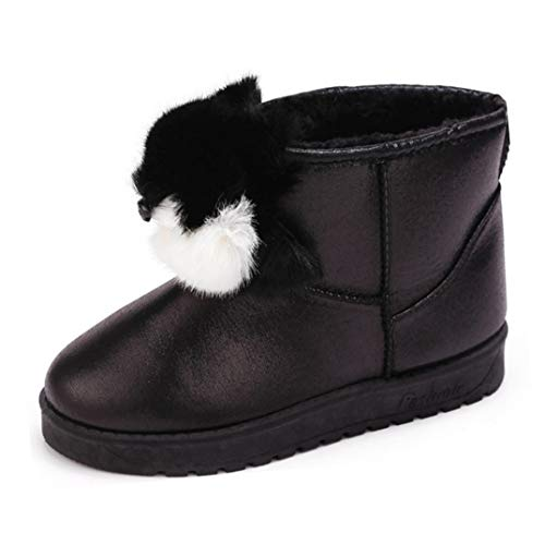 Winter Lightweight Boot Decor Women Footwear Snow Design Cute Fur Outdoor Faux VVFamily for Shoes Warm Black vqCOBwCU