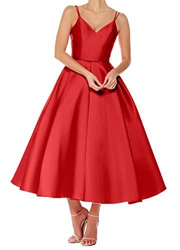 Kurz Ausschnitt Brautjungfernkleider Ballkleider V Charmant Rot A Abendkleider Rock Damen Festlichkleider Wadenlang Linie fwxqO1R8