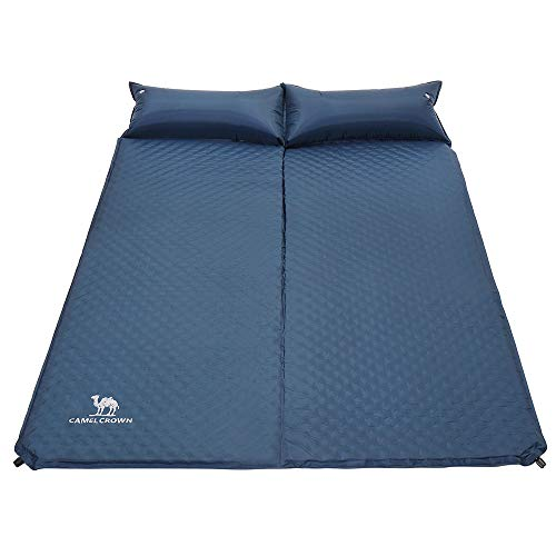 CAMEL CROWN Double Sleeping Pad Self Inflating, 2 Person Inflatable Foam Sleeping Mat with Pillow for Camping, Hiking, Travel, Backpacking