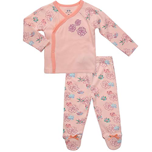 Asher and Olivia Infant Clothes Footed Pants Long Sleeve Kimono Shirt Baby Girl Layette 0-3 Month