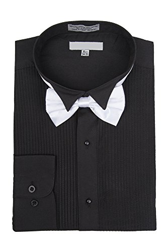 Sunrise Outlet Men's Wingtip Collar Pleated Tuxedo Shirt Bow Tie - Black 15.5 32-33 ()