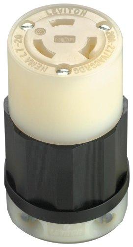 Leviton 2333 20 Amp, 277 Volt, NEMA L7-20R, 2P, 3W, Locking Connector, Industrial Grade, Grounding - Black-White -