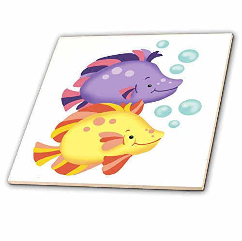 Tropical Fish Bubble (Russ Billington Nursery Designs - Two Colorful Tropical Fish with Bubbles - 6 Inch Ceramic Tile)