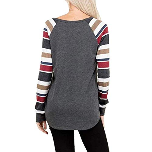 Automne Longues Bringbring Blouses Ray T Manches O Tops Femme Cou Gris Shirts qXxaEwWp