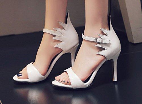 Le Donne Di Easemax Sexy Sul Tallone Alto Con Tacco A Spillo E Cinturino Alla Caviglia Con Cinturino E Sandali Open Toe Bianchi