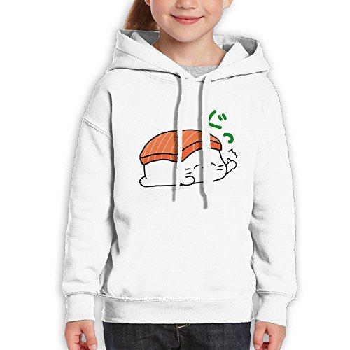 Vjkbkjnbk Sleeping Sushi Children's Pullover Sweatshirt Hooded Cotton Horse Painting Printed For Boys Girls