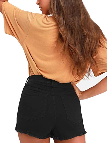 DOOLONLU Womens High-Waisted Stretchy Cutoff Cotton Denim Shorts