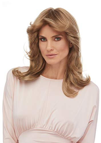 Charlie's Angels 70s Wig Color Frosted Blonde - Sepia Wigs Kate Jackson Long Wavy Mid Back Length 70s Woman Ladies Dectectives Bundle MaxWigs Costume Care Booklet