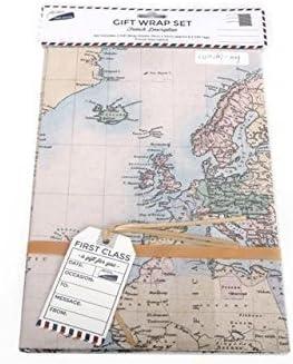 2x Láminas Papel de Regalo Papel de Regalo & Etiquetas Mapa Diseño Cumpleaños Día Del Padre