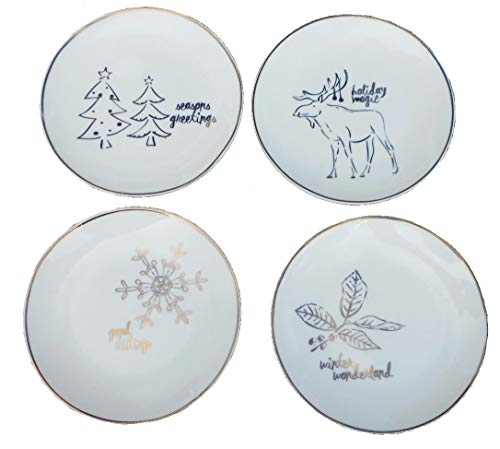 American Atelier Holidays Canape Plates, Set of 4, 6 Inch, Snowflake, Moose, Holly, Trees, Gold