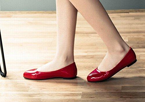 Latasa Dames Kunstlederen Slip-slip Op Ballerinas Rood