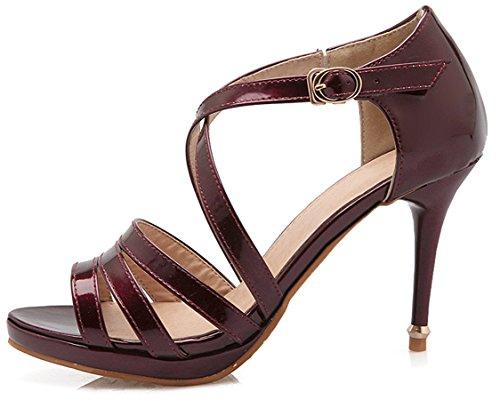 YE Frauen Peeptoes Riemchen High Heels Stiletto Plateau Knöchelriemen Lackleder Sandalen mit Schnalle Schuhe Weinrot