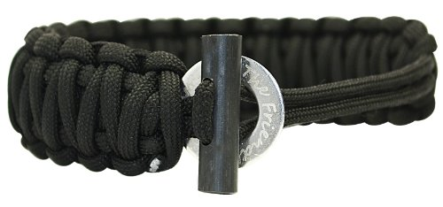 With Fire Starter – Extra Beefy / Wide / Thick Adjustable Premium Paracord / Para-cord Survival Bracelets – Adjustable Size Fits 7-9 Inch Wrists – Approx 16 Feet Disassembled Length – The Friendly Swede® Paracord Series – (Black), Outdoor Stuffs