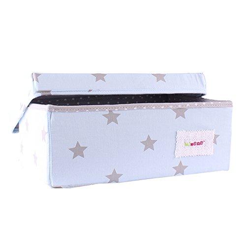 Minene/ /Caja de almacenaje peque/ña de plegable tela L32/x W21/x h12cmlinen cosm/ético papeler/ía organizador con flores azul con gris estrellas