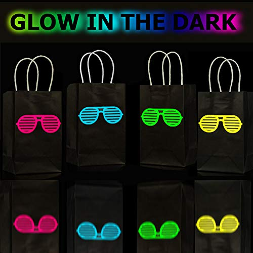 MISS FANTASY Glow in The Dark Party Bags 80s Party Supplies Neon Gift Bags with Handle Shutter Shade Glasses Goodie Bags Glow in The Dark Party Favors Pack Set of 12 (Multi1)