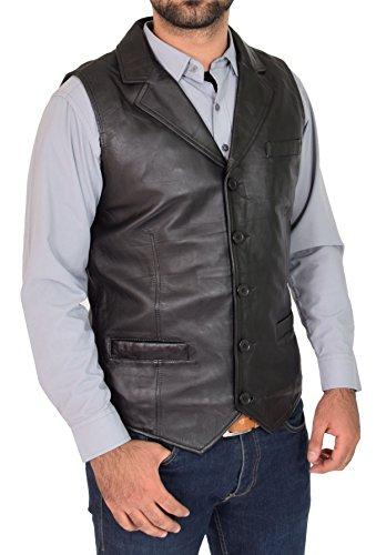 Mens Genuine Black Soft Leather Waistcoat Revere Collar Western Vest Yelek Rhys - Collar Revere
