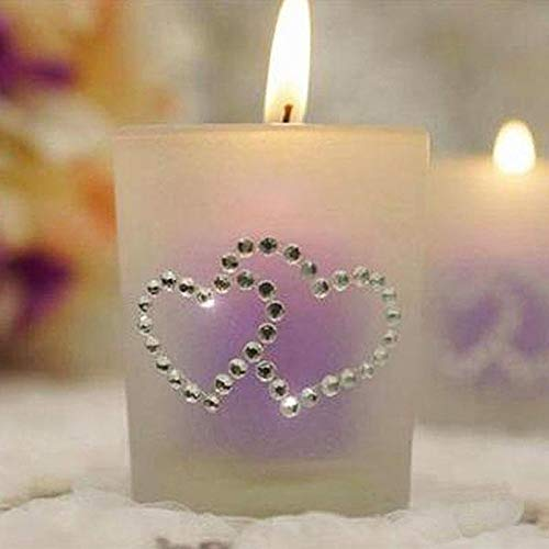 Efavormart Self Adhesive Double Heart Birthday Anniversary Diamond Stickers - Clear-24 PCS