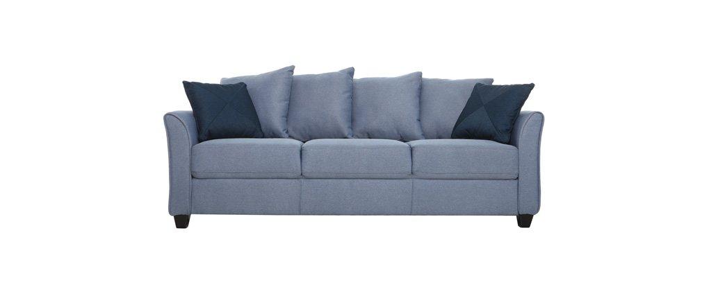 Miliboo - Sofá diseño desmontable 3 plazas azul KODDY ...