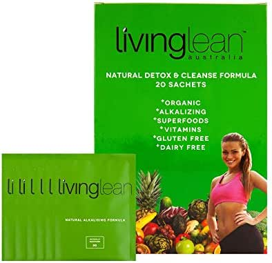 Living Lean Supergreens Alkaline Detox Cleanse - All Natural, Organic, Premium Blend of Superfoods, Minerals & Detoxifying Clay for Health, Well-Being, Skin & Digestion Support - 20 Sachets