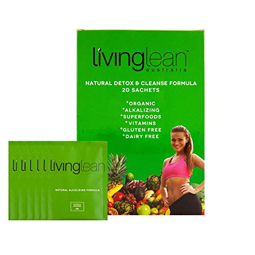 Living Lean Supergreens Alkaline Detox Cleanse - All Natural, Organic, Premium Blend of Superfoods, Minerals & Detoxifying Clay for Health, Well-Being, Skin & Digestion Support - 20 Sachets (Best Detox Diet For Weight Loss Australia)