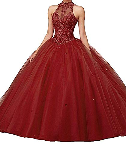(Jurong Women's Appliques High Neck Beads Long Pageant Quinceanera Dresses Burgundy)