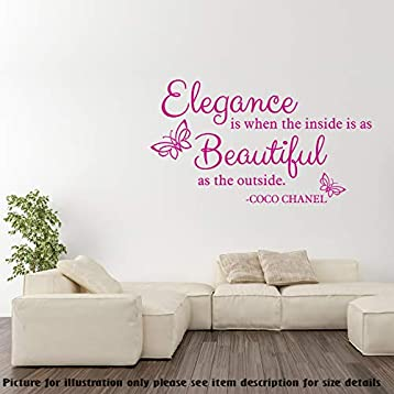 Amazon Com Elegance Is When The Inside Is As Beautiful As The Outside Coco Chanel Quotes Women Wall Stickers Quotes Decor Vinyl Wall Quotes Removable Wall Art Decals Handmade
