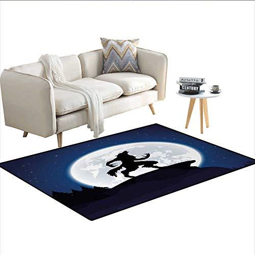 Rug,Full Moon Night Sky Growling Werewolf Mythical Creature in Woods Halloween,Floor Mat for Kids,Dark Blue Black WhiteSize:40
