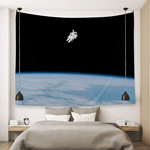 Ofat Home Astronaut and Earth Tapestry Wall Hanging Art Decor Black Blue Universe 59''x78.7''