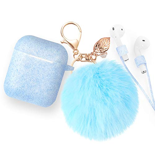 Airpods Case Keychain, BLUEWIND AirPod Charging Protective Case, Portable Carrying Earpods Case Strap, Keychain, Soft Fluffy Ball (Sapphire Blue)