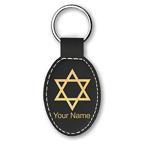 Oval Keychain, Star of David, Personalized Engraving Included ()