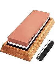 TODOCOPE Premium Whetstone, Sharpening Stone 2 Side Grit 1000/6000 Knife Sharpening Stone, Blade Knife Sharpener with Non Slip Bamboo Base & Angle Guide, Whetstone Sharpening Kit, White, Stand Size