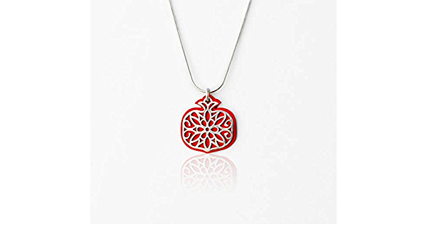 Gold Cuban Chain and Silver Figaro Chain Layered Set Pomegranate Necklace with Pendant Charm
