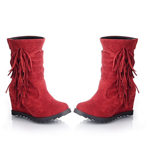 Closed US AmoonyFashion Kitten with Solid Tassels PU Boots 5 Red Round Toe Short M Womens and Plush B 4 Heels Wedge fqqPgcw5R