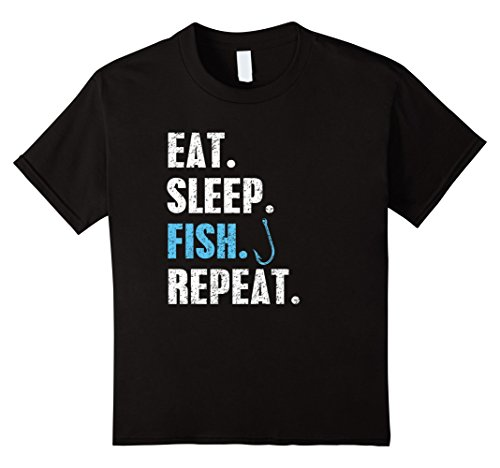 Price comparison product image unisex-child Eat Sleep Fish Repeat T-Shirt Fishing Lovers Gifts Tee Shirt 4 Black