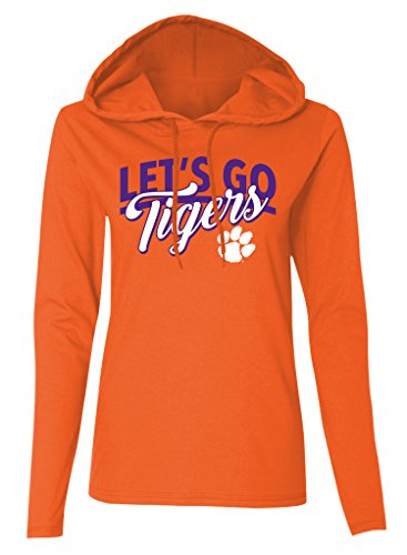 Old Varsity Brand NCAA Clemson Tigers Women's Long Sleeve Hooded T-Shirt, Orange, XX-Large