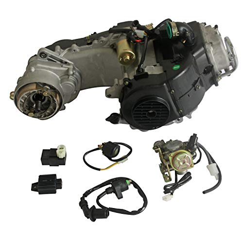 - Motrocycle Engine GY6 50cc 4-stroke Scooter Engine Auto w/CVT Transmission For 10-inch wheel Electric Start for Scooter/ATV/DirtBike, Black