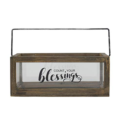 Stonebriar Count Your Blessings Rustic Rectangular Wood and Glass Tray Rail Candle Holder with Sentiment Saying, Brown (Holder Candle Rectangular)