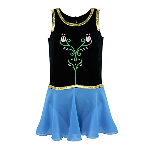 Freebily Kids Girls Princess Snow Queen Costume Embroidery Ballet Tutus Dancewear Black&Blue 8 by Freebily (Image #4)