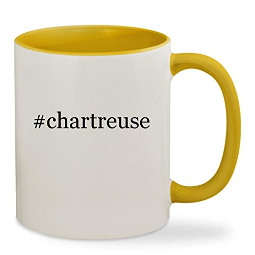 #chartreuse - 11oz Hashtag Colored Inside & Handle Sturdy Ceramic Coffee Cup Mug, Yellow