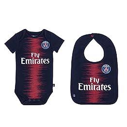 PARIS SAINT GERMAIN Body + Bavoir bébé PSG - Maillot Fly Emirates - Collection Officielle