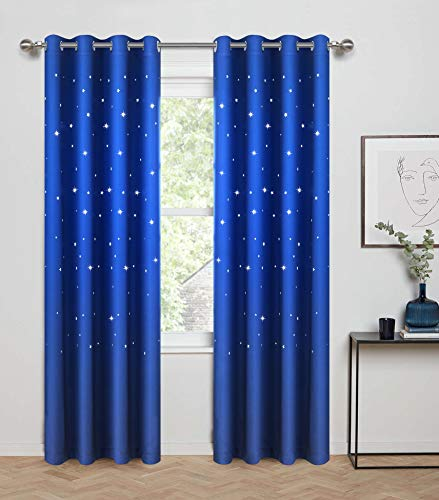 - Anjee Blackout Curtains with Die Cut Stars for Bedroom-Starry Night Sleep-Enhancing Cosmic Themed Twinkle Drapes for Baby Nursery, Light Blocking Draperies (2-Panel W52 x L84 Inch, Royal Blue)