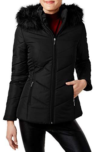 Maralyn & Me Women's Faux Fur Trim Puffer Coat Jacket, Black, M