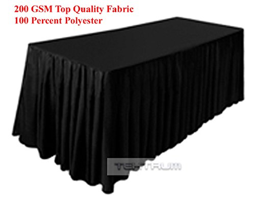TEKTRUM 6 FT LONG FITTED TABLE SKIRT COVER FOR TRADE SHOW - THICK/HEAVY DUTY/DURABLE FABRIC (Black)