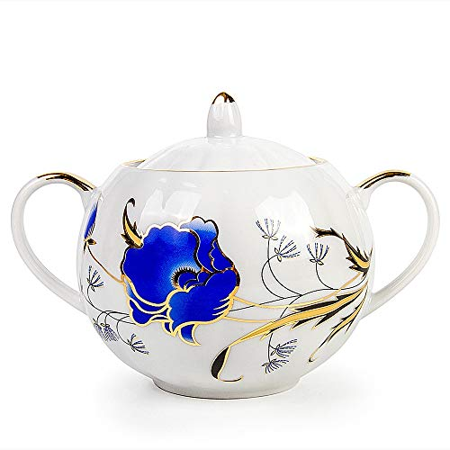 (Dulevo Porcelain Blue Poppies Sugar Bowl 20.3 fl oz (600 ml) - Flower)